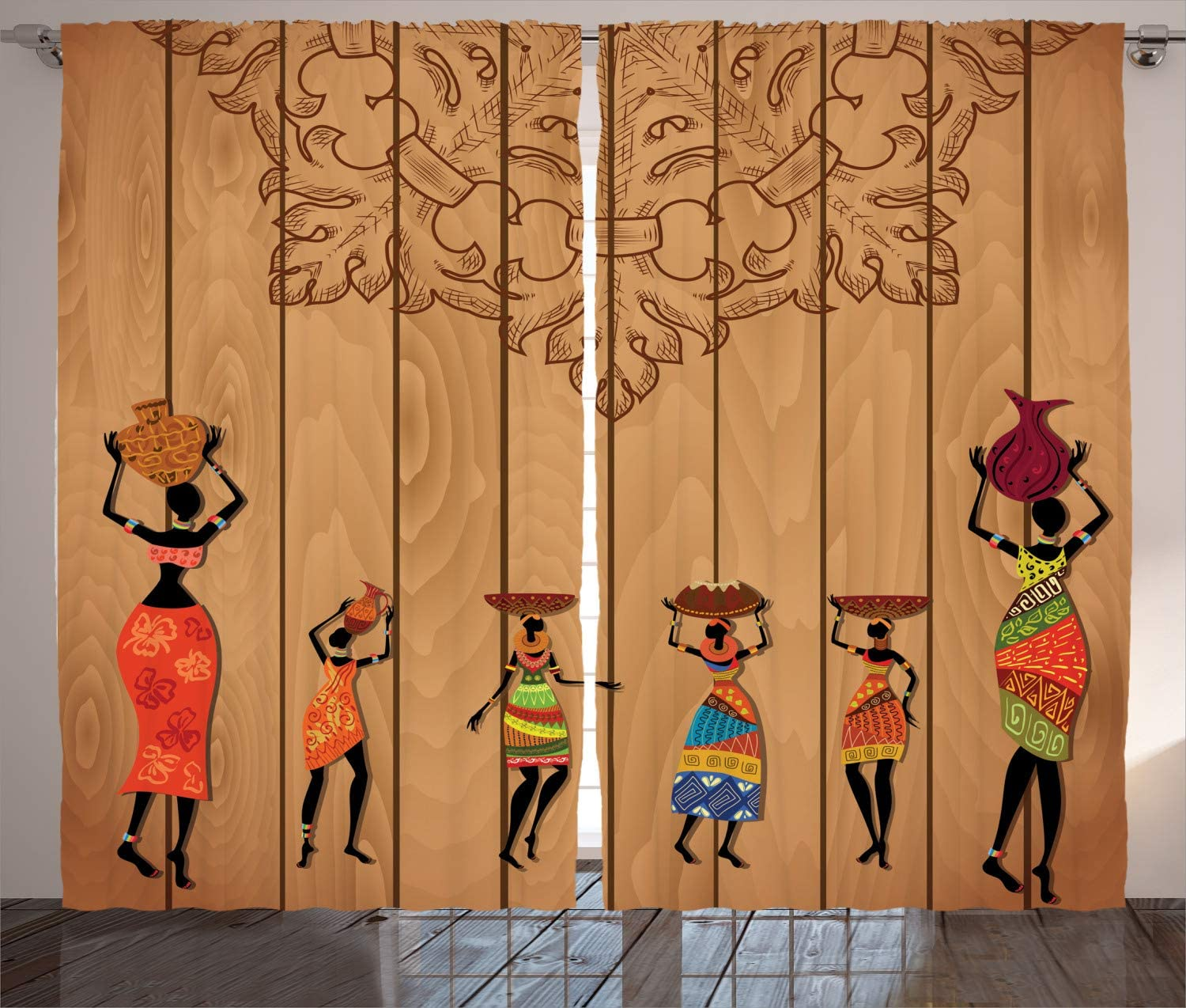 Ambesonne African Curtains Girls Max 61% OFF Wooden Female Vintage Texture Sale price