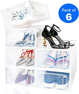 NEATLY Shoe Organizer - Stackable Shoe Racks for closets and entryway Shoe Storage cabinet - 6 COLLAPSIBLE Cube Storage bins for mens shoes, women shoes sneakers - Clear plastic shoe boxes with lids