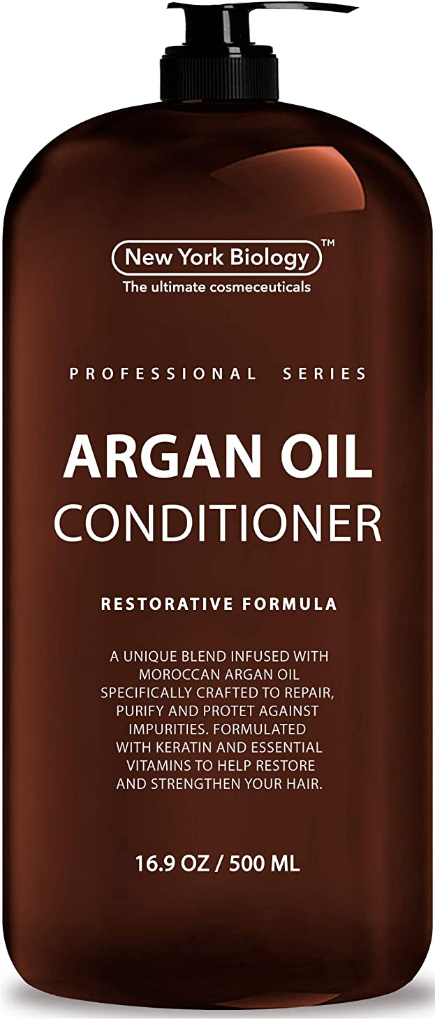 100% Natural Moroccan Argan Oil Conditoner – Huge 16 OZ – Moisturizing & Volumizing Professional Series Restorative Formula –– Infused with Keratin & Sulfate Free