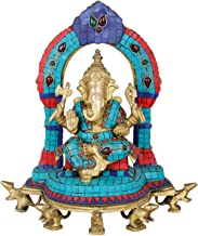 Enthroned Ganesha on Five Rats (Inlay Statue) - Brass Statue with Inlay Work
