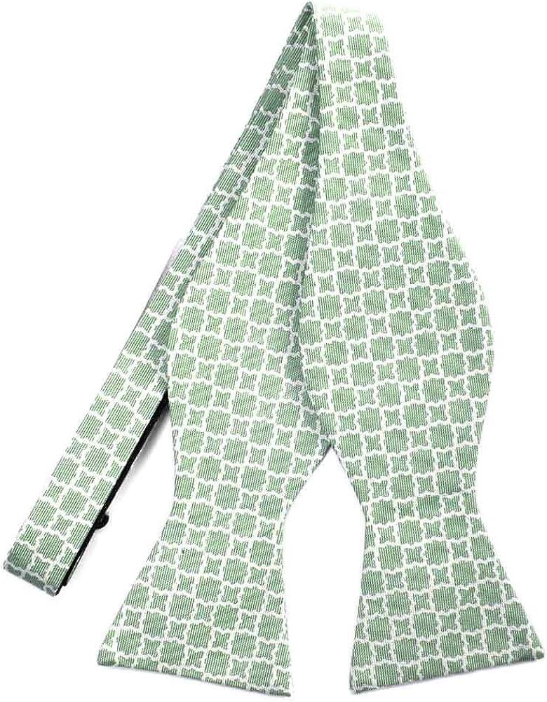 TieMart Regent Morris Juniper Green Moroccan Trellis Cotton/Silk Self-Tie Bow Tie