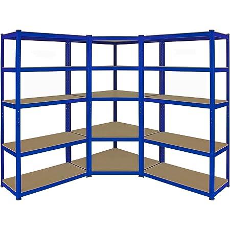 1 Estantería Esquinera y 2 Estanterías T-Rax De Acero Sin Tornillos Azules 90cm x 45cm x 180cm