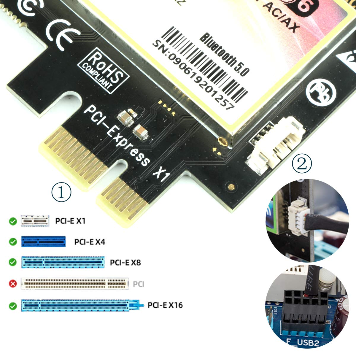 Ubit AX WiFi 6 WiFi Card Dual Band 3000 Mbps AX200 PCIE Wireless WLAN WiFi Card with Bluetooth 5.1 | MU-MIMO| OFDMA| Ultra-Low Latency(Suport Win 10 64bit only)
