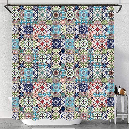 MAYUES Duschvorhang Wasserdicht Geometrische Quadrate & Rechtecke Buntes & komplexes Design Blumenarrangement mit Haken, waschbare Badvorhänge