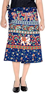 Women's Cotton Printed Knee Length Regular Wrap Around Skirt (W24NT_0004)