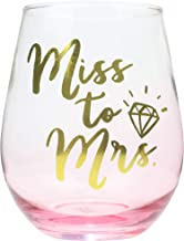 Miss To Mrs 22oz Stemless Wine Glass, Two tone Bride Wine Glass with Gold Print, Perfect Bridal Wine Glass, Engagement Glass, Engagement Present, Bride to Be Wine Glass, Recently Engaged Gift