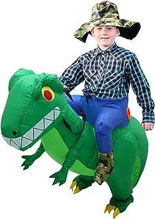 CestMall Disfraz de Dinosaurio, Disfraz Inflable de Dinosaurio de Bicicleta para niños, Disfraz Inflable de Halloween con Sombrero, Disfraz para Adultos para niños, Fiesta de Cosplay (120-140cm)