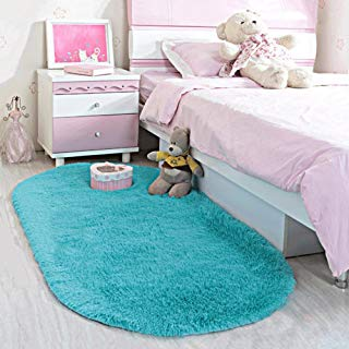 LOCHAS Ultra Soft Children Rugs Room Mat Modern Shaggy Area Rugs Home Decor 2.6' X 5.3', Turquoise Blue