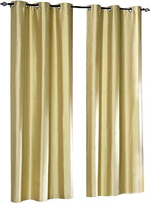 Deco Window Summer Strip 4 Piece Polyester Window Curtain Set - 5 ft, Amber Green