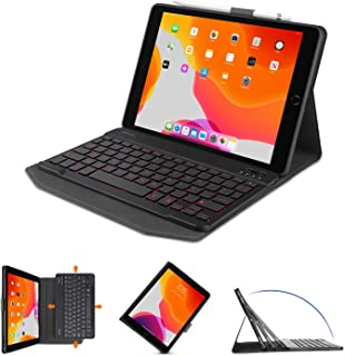 OMOTON Bluetooth Keyboard Case for iPad 10.2 Inch(8th Gen 2020/7th Gen 2019), iPad Air 3, iPad Pro 10.5, Rechargeable&7 Co...