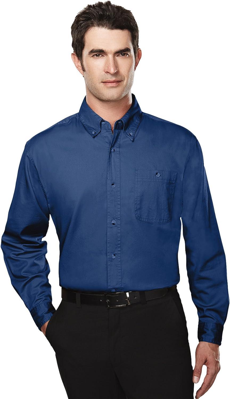 Tri-Mountain Big and Tall 6 oz. Cotton Long Sleeve Twill Shirt Navy