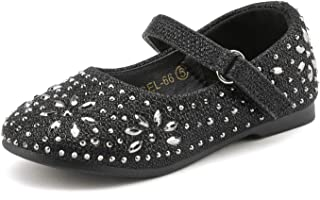 Girl's Mary Jane Rhinestone Buckle Strap Ballerina Flat (Toddler/Little Girl)