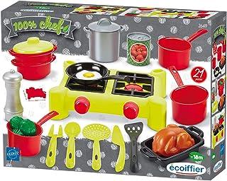 Jouets Ecoiffier – 2649 - Dînette Réchaud 100 % Chef – Ustensiles, vaisselle, aliments - 21 pièces – Dès 18 mois – Fabriqu...