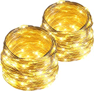 esLife 2 Pack 36ft 100Led Starry Fairy Lights Battery Powered String Lights with Timer and 8 Lighting Modes Silver Christmas Lights for Bedroom, Garden, Easter, Xmas Decoration Warm White