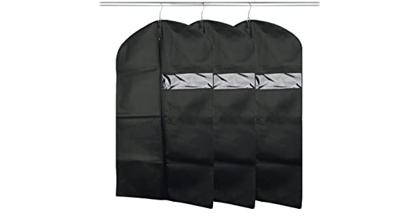 Hanging Suit Covers for Travel 23.4x 47 Coats 3PCS Black Breathable Garment Bag Covers for Storage Long Dresses Dance Costumes Segarty Garment Covers