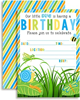 Bunch of Bugs Birthday Party Invitations for Boys, 20 5