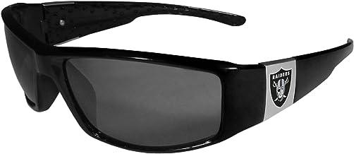 NFL Oakland Raiders Unisex Siskiyou Sportschrome Wrap Sunglasses, Black, One Size
