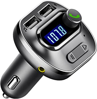 VicTsing (Upgraded Version V4.1 Bluetooth FM Transmitter for Car, Wireless in-Car Bluetooth Adapter, Bluetooth Radio Transmitter Support Aux Input Output, TF Card and U-Disk, Hands Free Calls-Grey