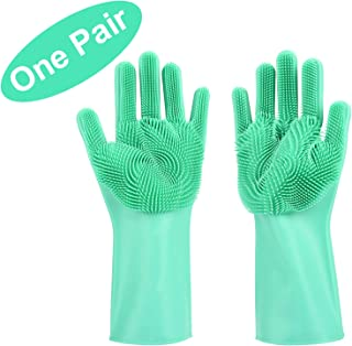Magic Dishwashing Gloves with Scrubber, Silicone Cleaning Reusable Scrub Gloves for Wash Dish,Kitchen, Bathroom (Green)