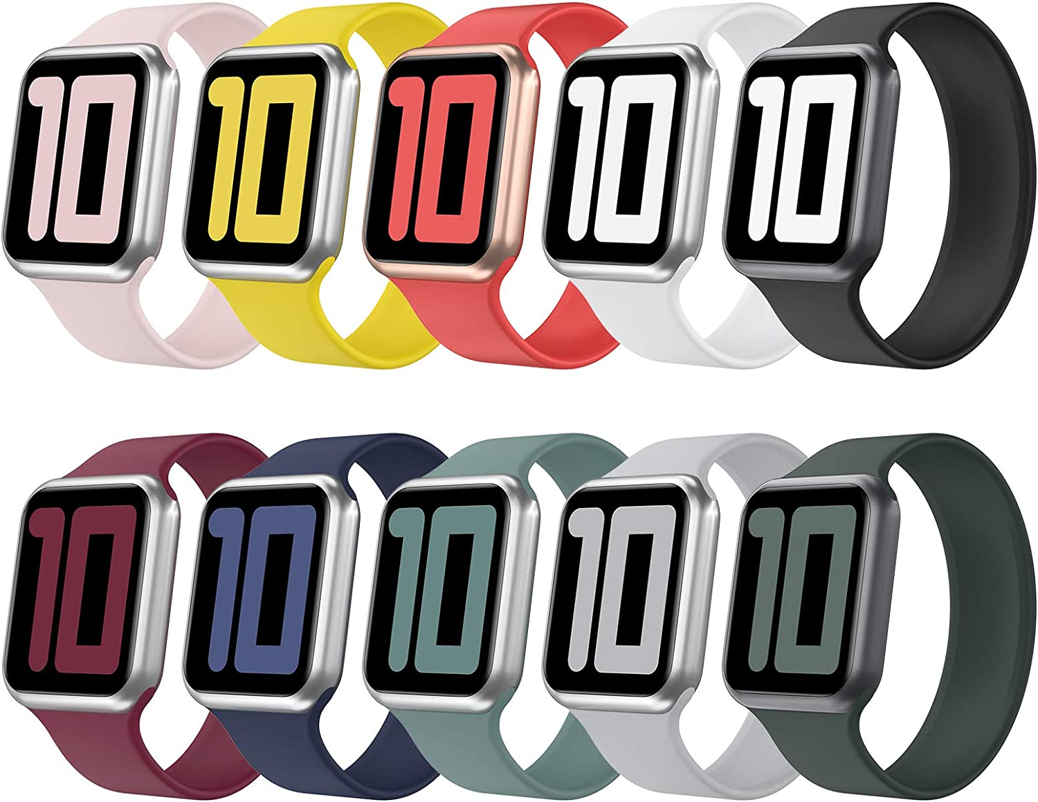 Huishang 10 Pack Solo Loop Strap Compatible with Apple Watch Band 38mm 42mm 40mm 44mm, Silicone Watch Bands, Sport Replacement Wristband for iWatch Series 6/5/4/3/2/1, SE (10 Pack, 38mm/40mm-M)