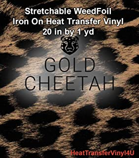 Stretchable WeedFoil Iron On Heat Transfer Vinyl 20 Inches by 1 Yard - Gold Cheetah