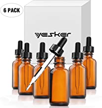 Yesker Amber Glass Bottles for Essential Oils with Glass Eye Dropper 30 ml (1oz) for Essential Oils, Chemistry Lab Chemicals, Colognes & Perfumes- Pack of 6