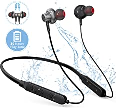 BT01 Sports Bluetooth Headsets, Neckband Wireless Earphones with Mic and HD Stereo Sound 10 Hours Hands Free Call Bluetooth Earbuds Flexible Wireless Headphones in Ear Waterproof (Black)