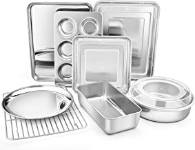 TeamFar Bakeware Set of 11, Stainless Steel Bakeware Set with Baking Sheet and Rack, Lasagna Pan with Lid, Square & Round ...