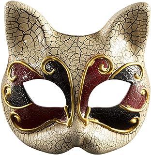 🍀Libobo🍀Children Masquerade Mask Vintage Venetian Checkered Musical Party Mardi Cat Mask (Red)