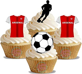 Arsenal Soccer Mix NEW The Gunners - Fun Novelty Birthday PREMIUM STAND UP Edible Wafer Card Cake Toppers Decorations (Unflavoured, 12 Pack)