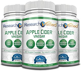 Research Verified Apple Cider Vinegar 1600mg – 100% Pure Vegan Mother ACV Capsules – Healthy Weight Loss & Powerful Fat Burner with Bioperine for Added Absorption – 180 Capsules (3 Months Supply)