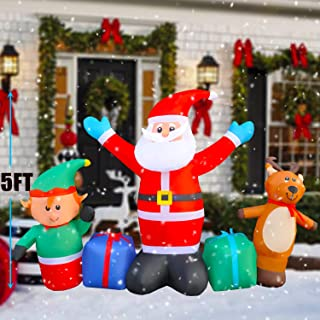 SEASONBLOW 5 Ft LED Light Up Inflatable Christmas Santa with Elf Elk Gift Box Xmas Decoration for Yard Lawn Garden Home Party Indoor Outdoor