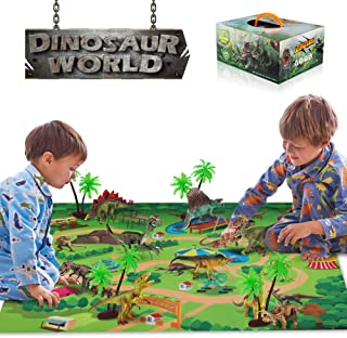Baztoy Dinosaur Toys Figures Realistic Model Sets Play Mat Trees and Map Educational Boys Gifts Dino World for Kids Dinosaur Party Supply Favors Including T-Rex Tyrannosaurus Triceratops