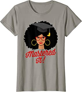 Womens Black Queen Mastered It Masters Graduation T Shirt