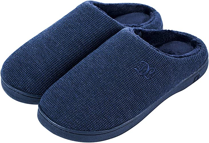 DL Womens Memory Foam Slippers, Cozy Slip on House Slippers for Women Indoor Outdoor, Comfy Women's Bedroom Slippers Warm Soft Flannel Lining Home Slippers Size 5-12 Purple Blue Pink Grey Navy Black