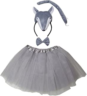 Kids 3D Animal Costume Face Ears Headband Bowtie Tail Tutu Set