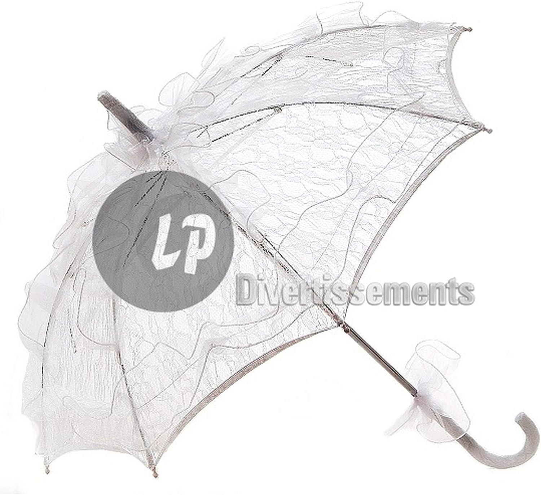 Lp DivertisseHommests Lot de 12 ombrelles Dentelles Blanc 75cm