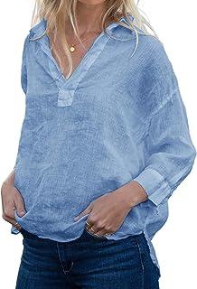 FUERI Womens Cotton Linen Blouse Long Sleeve Tops V Neck Plain Oversized Loose Summer Shirts
