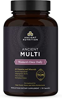 Ancient Nutrition, Ancient Multi Women's Once Daily - 20 Vitamins & Minerals, Adaptogenic Herbs, Methylated Folate, Paleo & Keto Friendly, 30 Capsules