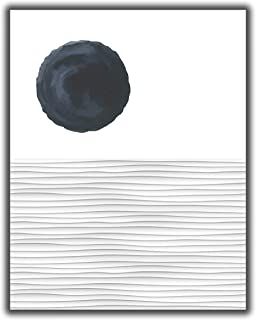 Abstract Ocean Waves & Sun Contemporary Wall Art | 11x14 UNFRAMED Print | Nordic Modern Mid Century Black & White Wall Decor.