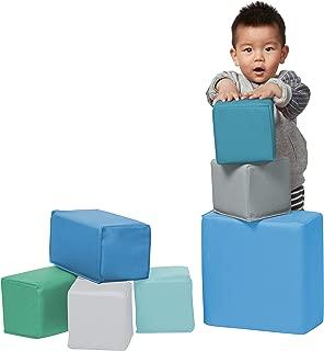 ECR4Kids Softzone Foam Stacking Blocks, Soft Building Blocks for Baby, Contemporary (7-Piece Set)
