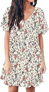 Imysty Womens Floral V Neck Ruffle Sleeve Summer Casual Loose Boho Swing Mini Short T-Shirt Dress