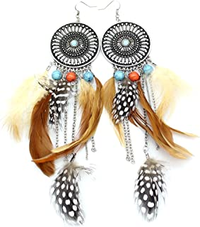 Western Cowgirl Vintage Big Dream Catcher Feather Coral Turkey Blue Stone Bead Style Earrings