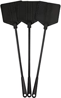 OFXDD Rubber Fly Swatter, Long Fly Swatter Pack, Fly Swatter Heavy Duty, Black Color (3 Pack)