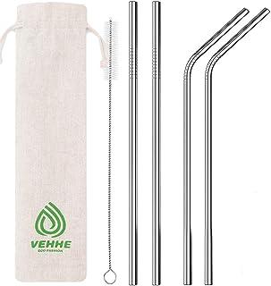 "VEHHE Metal Straws Stainless Steel Straws Drinking Straws Reusable FDA BPA - 10.5"" Ultra Long 4 + 1 - W/Cleaning Brush for..."