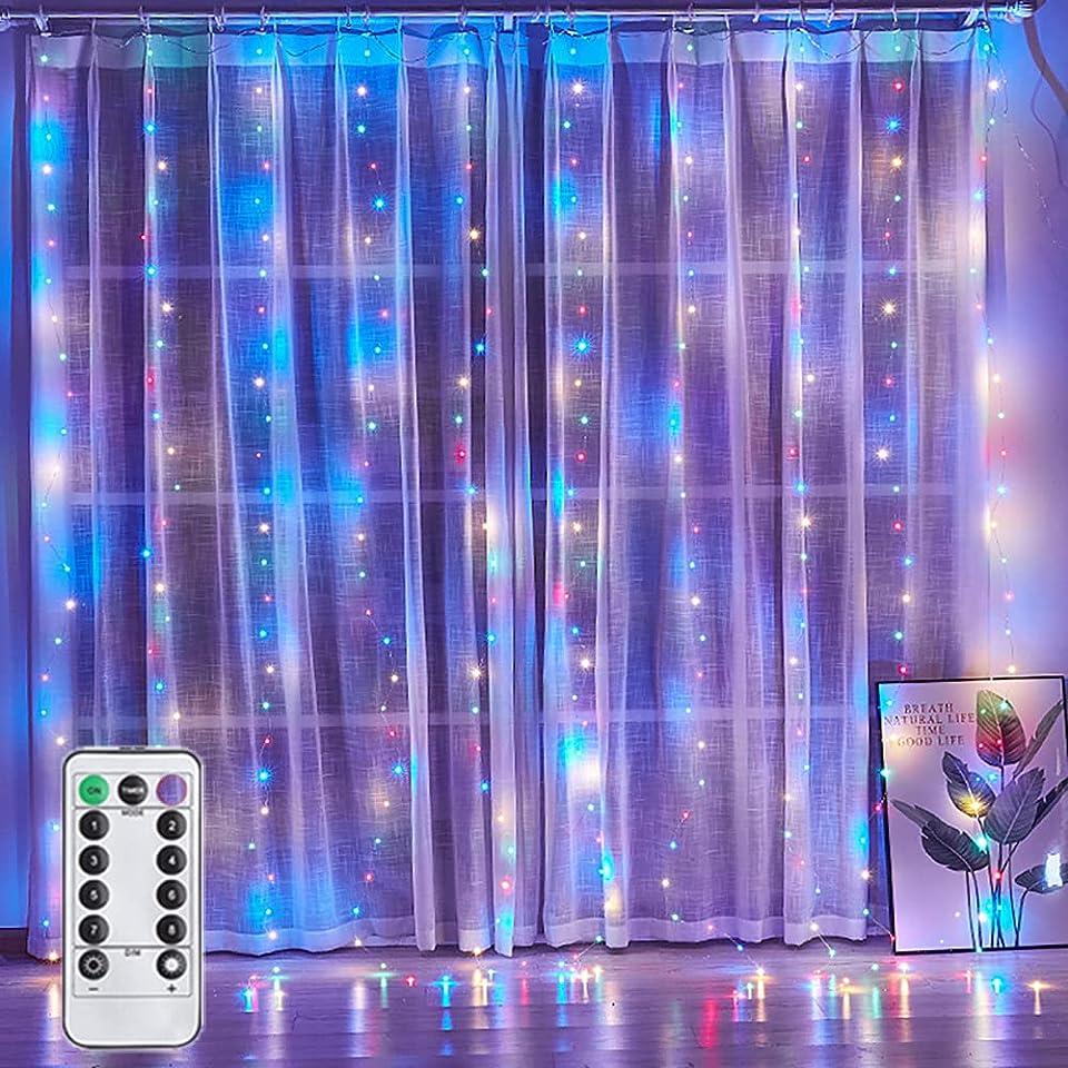 Led Lichterkette, MMTX USB Lichterkette Innen, 300 LED Lichterkette Batterie mit Fernbedienung Steuerung 8 Modi Lichterkettenvorhang Wasserdicht Led Deko für Garten, Zimmer, Weihnachten