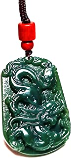 Yigedan Women Mens Natural Chinese Dark Green Dragon Handmade Gemstone Necklace