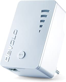 devolo WiFi Repeater ac (1200 Mbit/s, 1x Gigabit Ethernet LAN Port, WPS, WLAN Repeater und WLAN Verstärker, WiFi Extender, 5 stufige Signalstärkeanzeige, Accesspoint Funktion, kompaktes Design) weiß