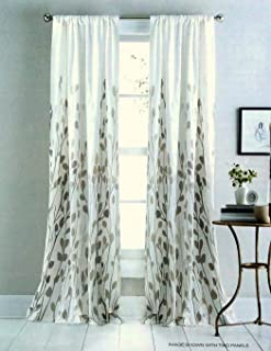 DKNY Carroll Gardens Floral Road Pocket Curtains 100% Cotton 50 by 84-inch Set of 2 Floral Window Panels White Beige Tan Taupe Flowers Branches