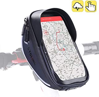 Aselife Waterproof Bike Handlebar Bag,Bicycle Phone Mount,Bicycle Phone Mount Holder Pouch Bag,Cycling Frame Transparent Touchable Case 360 Degrees Rotatable for Under 6'' Smartphone